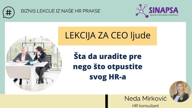 Savet za CEO-a pre otpuštanja HR-a